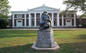 Homer statue in front of Old Cabell Hall at the University of Virginia